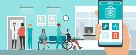 An illustration of a doctor's waiting room. There's a hand holding a phone with various apps showing on it. One person in the background is in a wheelchair and is being pushed by a nurse.