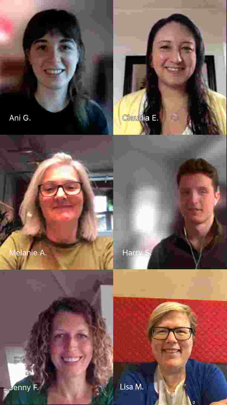 Tiled image of six new members of the team. Headshots all smiling at the screen as the photo is taken from a Teams meeting