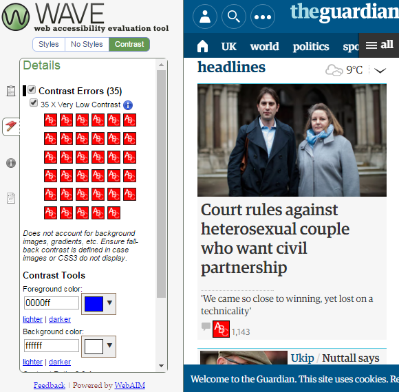 A mobile screenshot of the Guardian website with the WAVE accessibility tool assessing contrast errors on the right hand side.