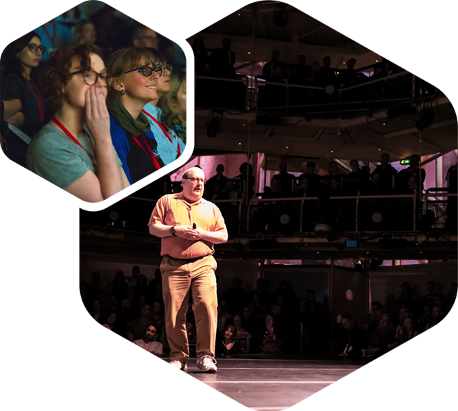 Two hexagon shaped photographs with a smaller picture slightly overlaid by a larger picture. In the small picture, people are sat in an audience, smiling. In the larger picture, a white man is walking in the middle of a stage, surrounded by an audience.