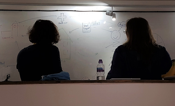 Silhouettes of two people with their backs to the camera, stood in front of a whiteboard.
