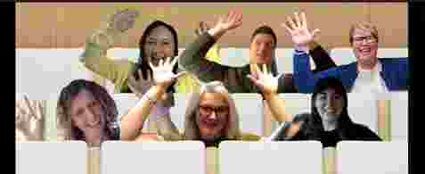 Six new team members in a screenshot from Microsoft Teams. They are waving thier hands in the air and laughing