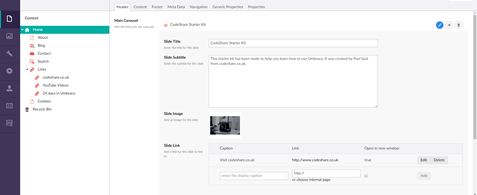 A screenshot of the Umbraco 7 back office