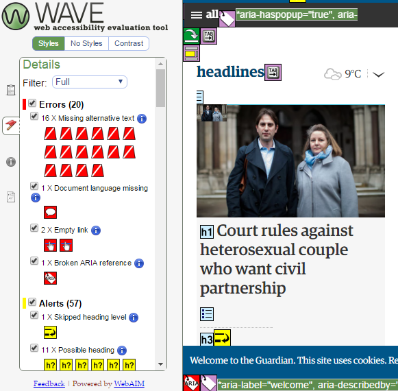 A screenshot of the WAVE programme's analysis of the Guardian website
