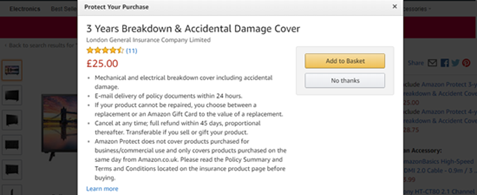 A screenshot of Amazon's checkout process offering breakdown cover