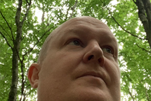 A photo looking up at Greg Knight in a forest
