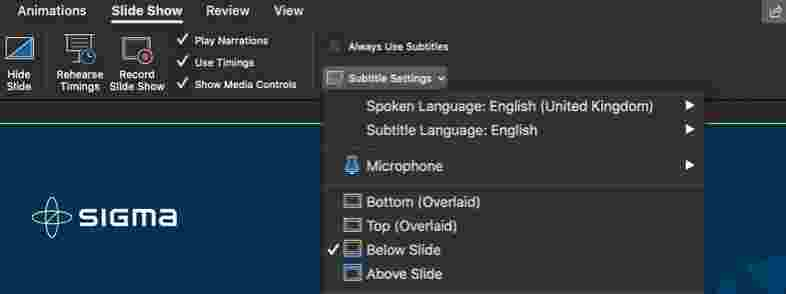 Screenshot of Microsoft PowerPoint in dark mode showing the Subtitle Settings dropdown open and additional options