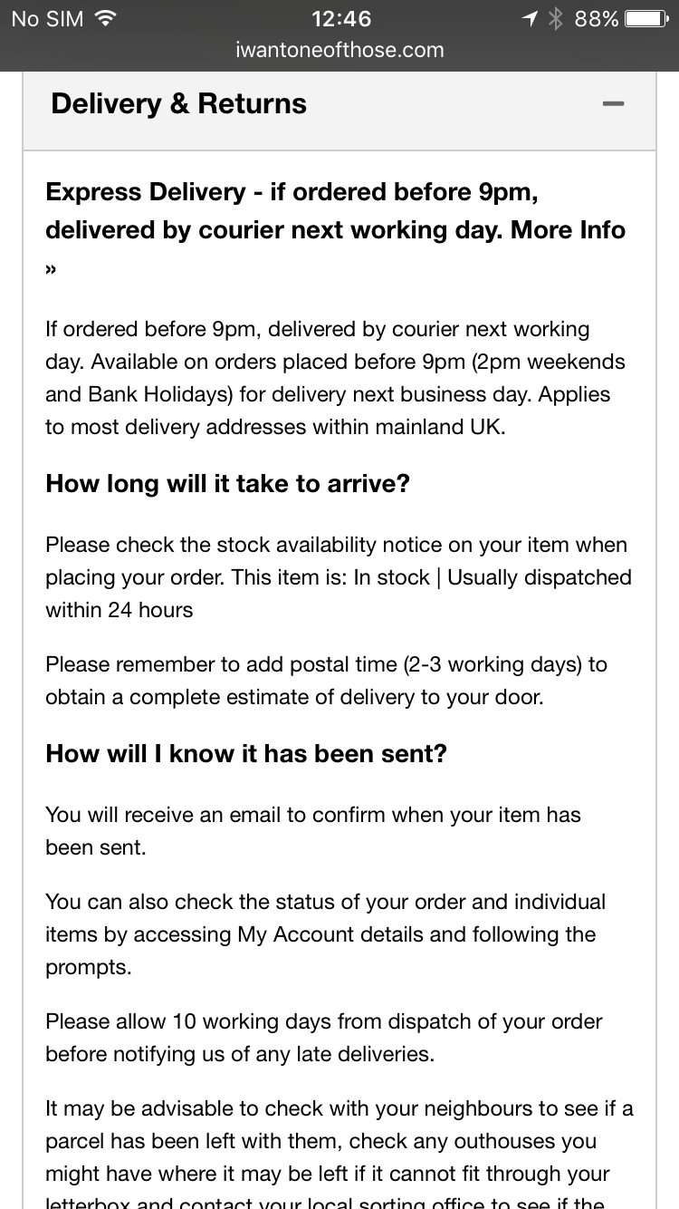 IWOOT.com delivery details in prose.