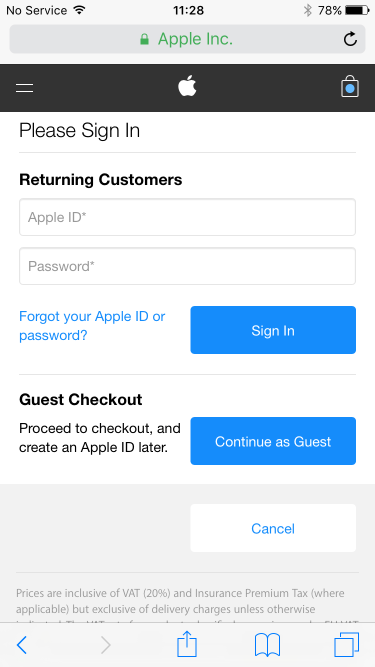 Apple checkout with guest pass option.